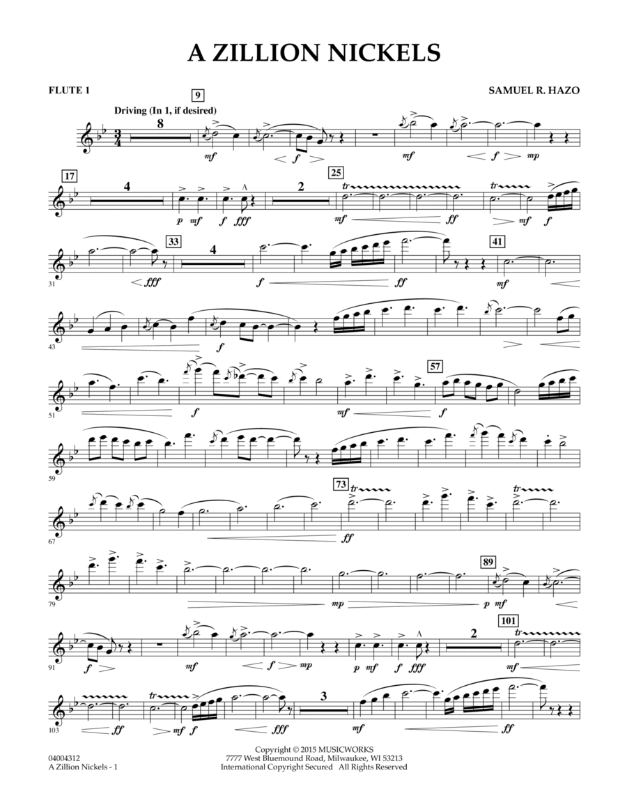 A Zillion Nickels - Flute 1