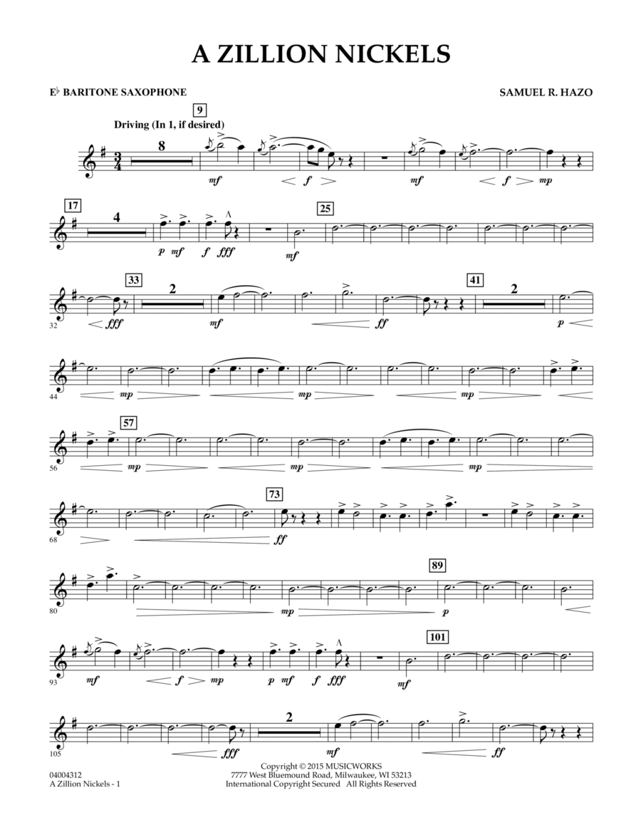 A Zillion Nickels - Eb Baritone Saxophone