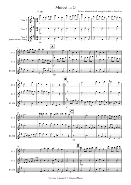 Minuet in G by Bach for Flute Trio