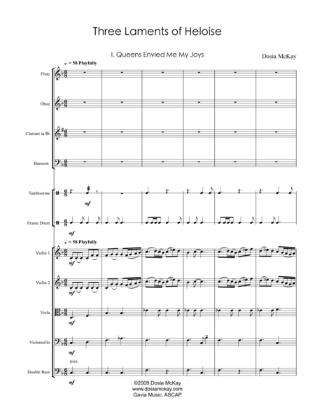 Three Laments of Heloise for Chamber Orchestra
