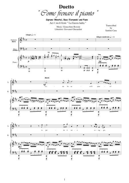 Rossini-La gazza ladra (Act 1s6) Come frenare il pianto - Soprano, Bass and piano