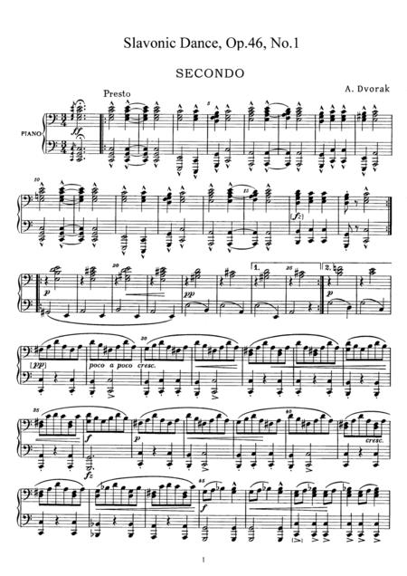 Dvorak Slavonic Dance, Op.46, No.1, for piano duet, PD881