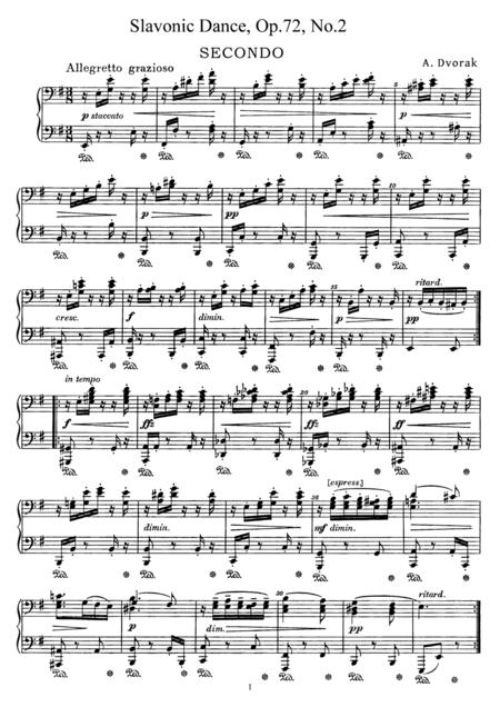 Dvorak Slavonic Dance, Op.72, No.2, for piano duet, PD892