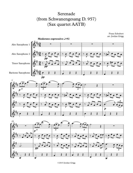 Serenade (from Schwanengesang D. 957) (Sax Quartet AATB)