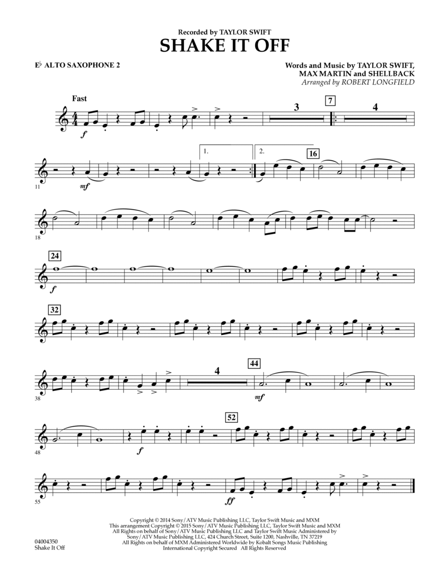 Shake It Off - Eb Alto Saxophone 2