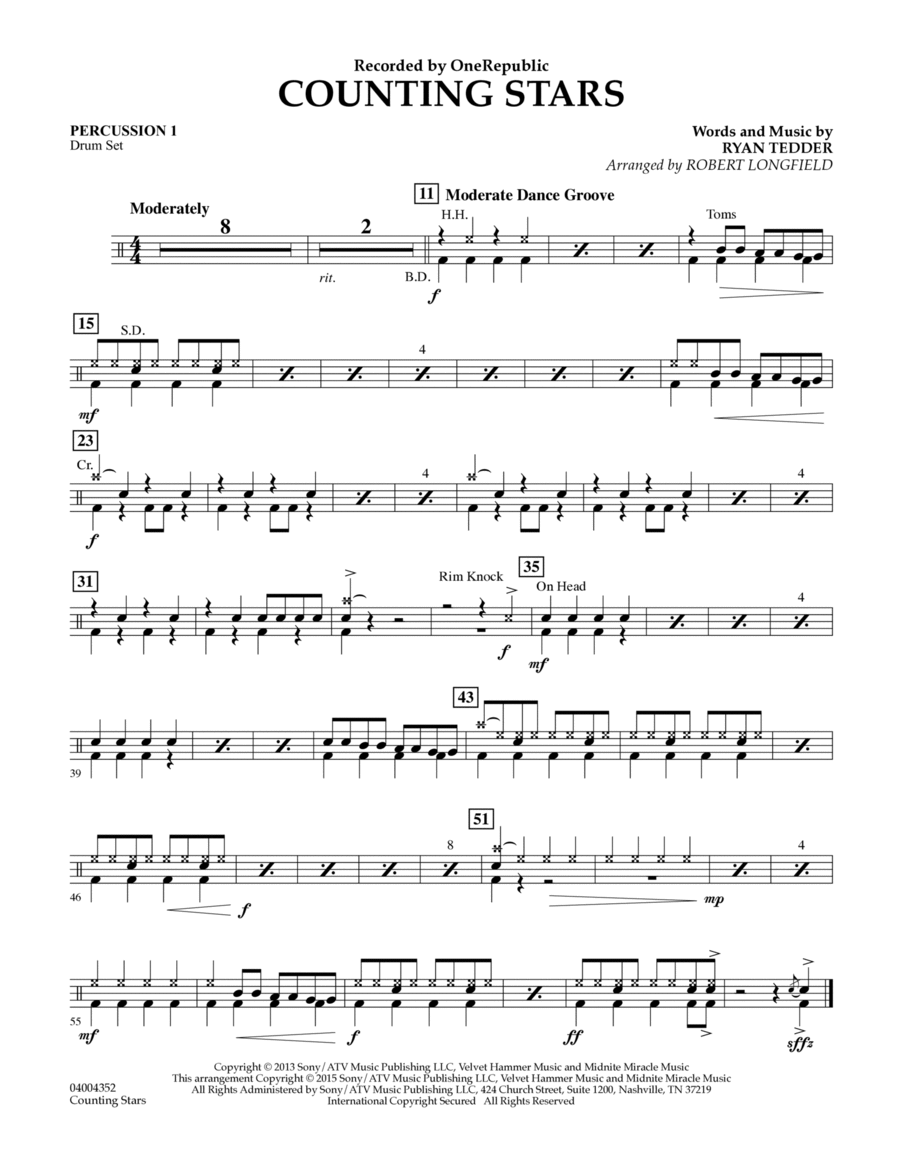 Counting Stars - Percussion 1