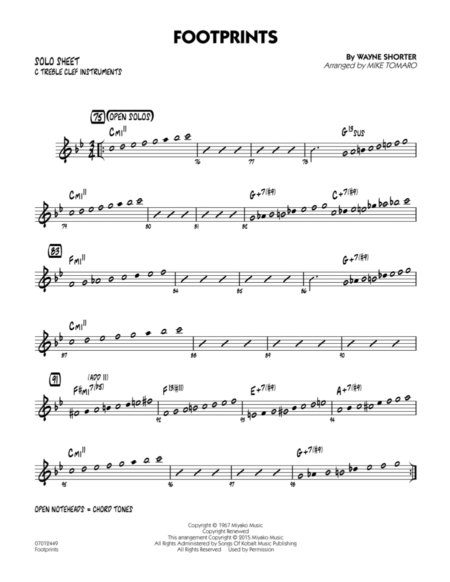Footprints - C Solo Sheet