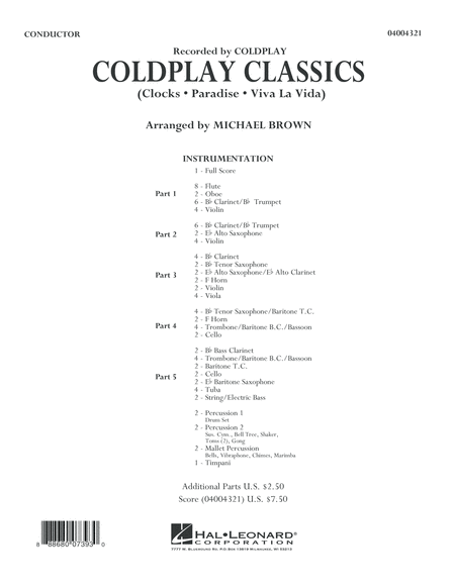 Coldplay Classics - Conductor Score (Full Score)