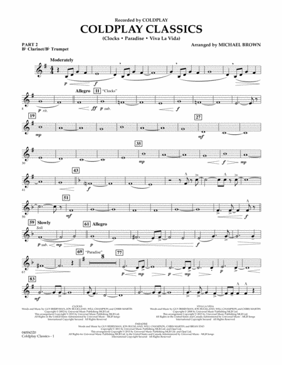 Coldplay Classics - Pt.2 - Bb Clarinet/Bb Trumpet
