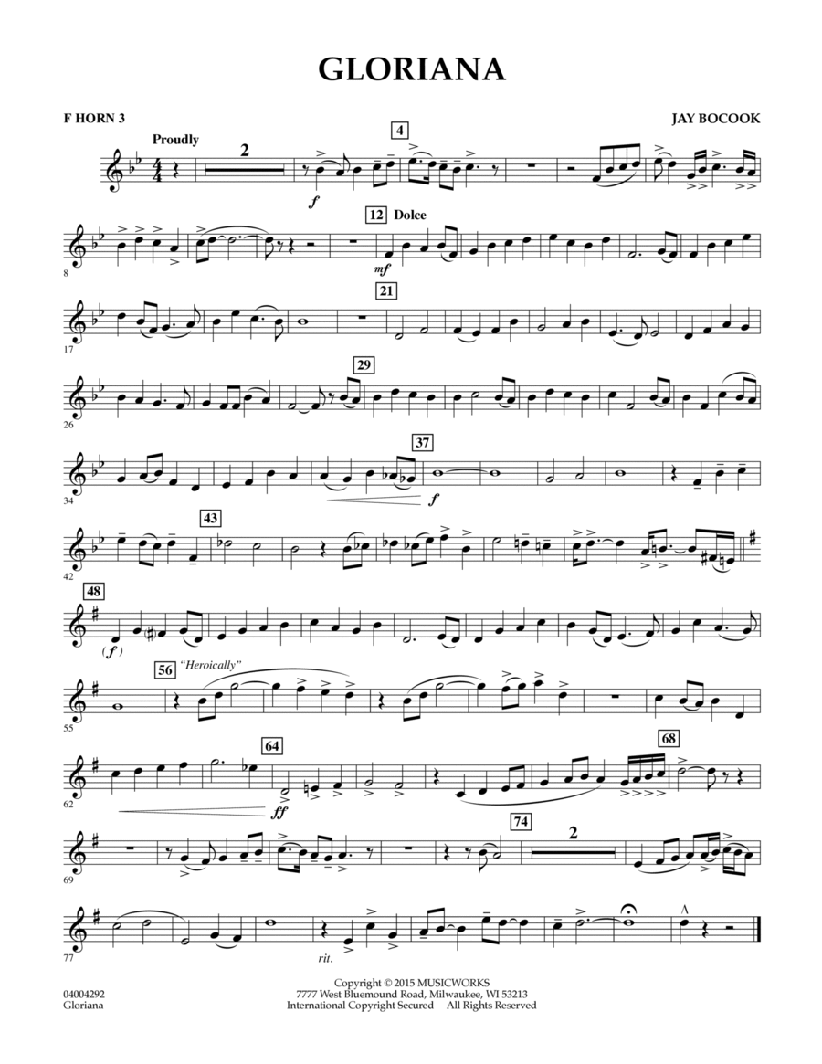 Gloriana - F Horn 3