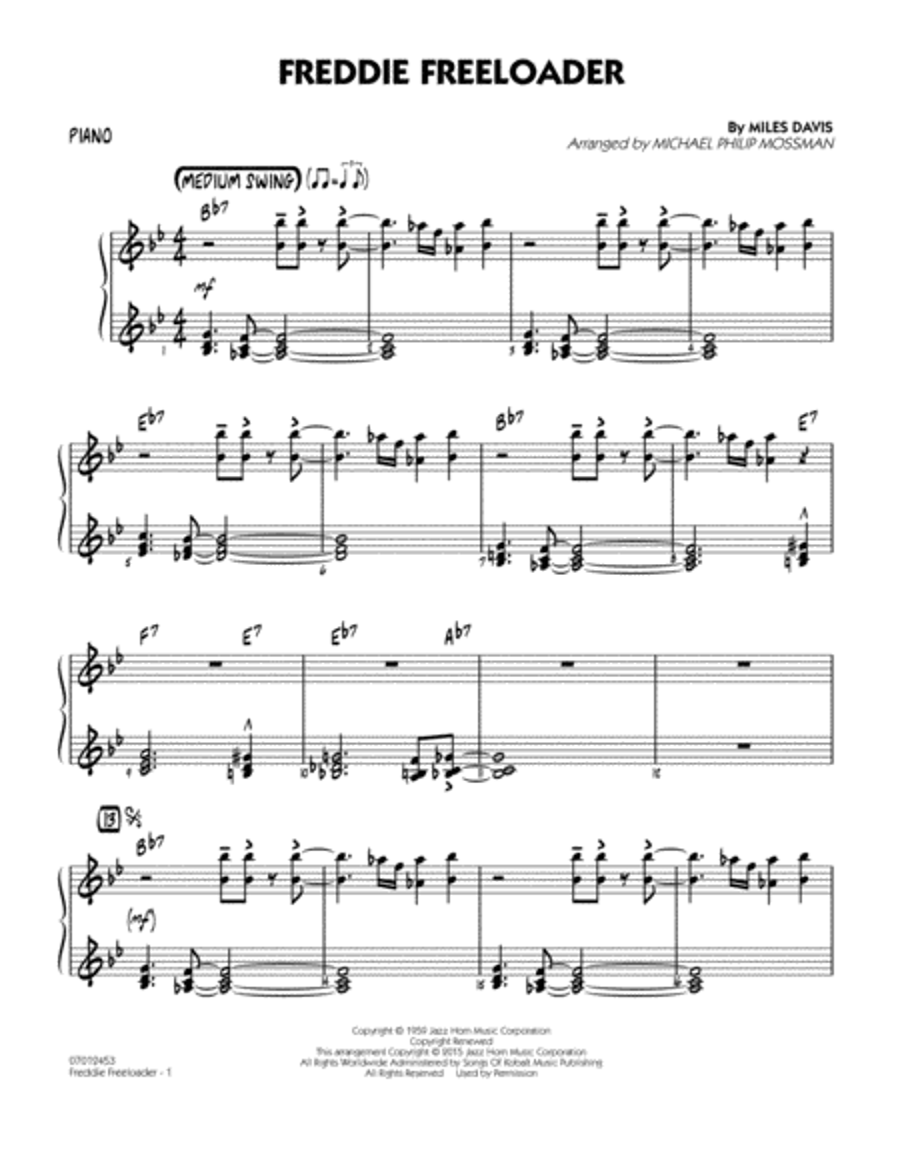 Freddie Freeloader - Piano