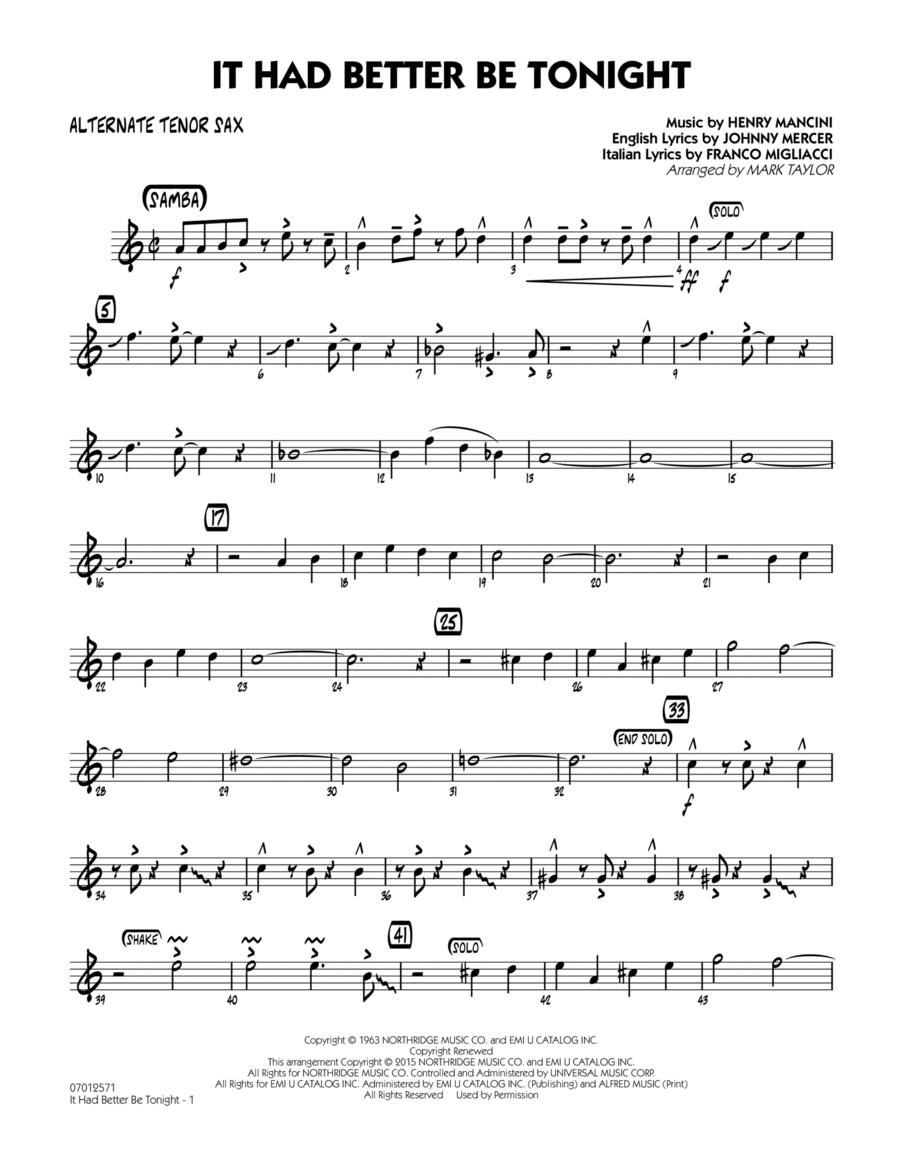 It Had Better Be Tonight - Alternate Tenor Sax