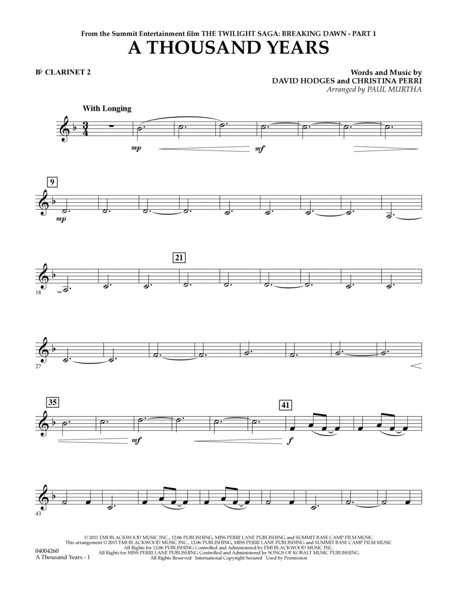 A Thousand Years (from The Twilight Saga: Breaking Dawn, Part 1) - Bb Clarinet 2