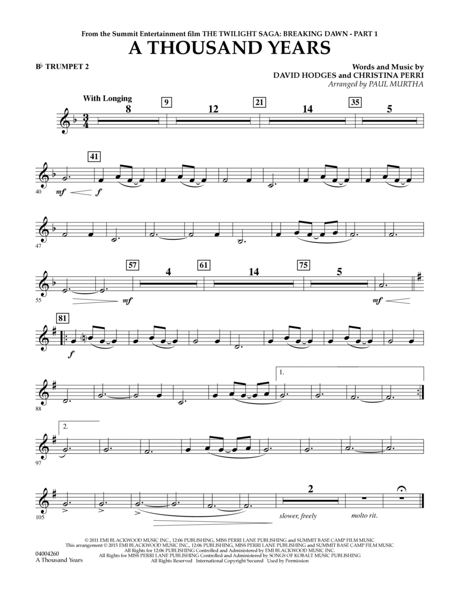 A Thousand Years (from The Twilight Saga: Breaking Dawn, Part 1) - Bb Trumpet 2