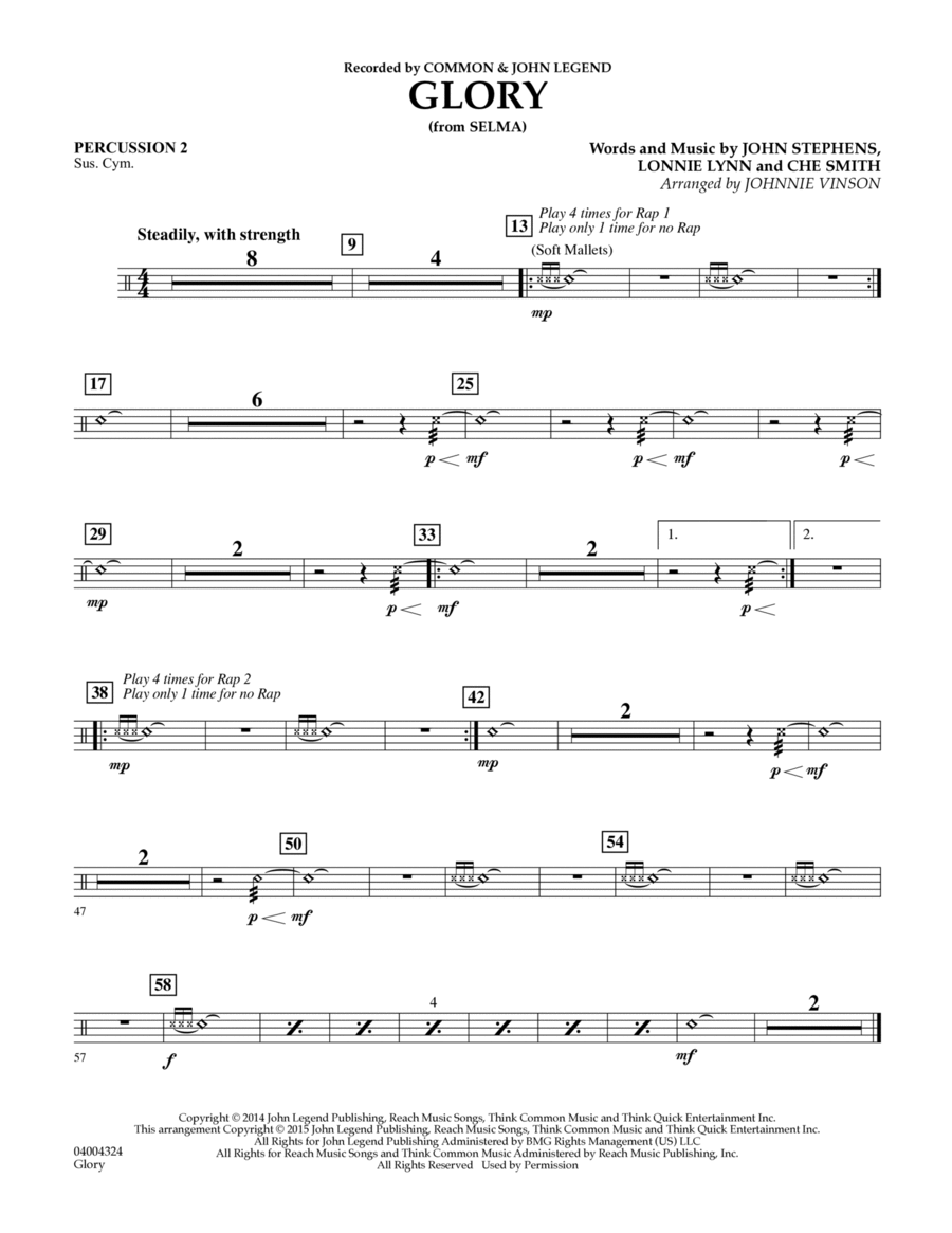 Glory (from Selma) - Percussion 2