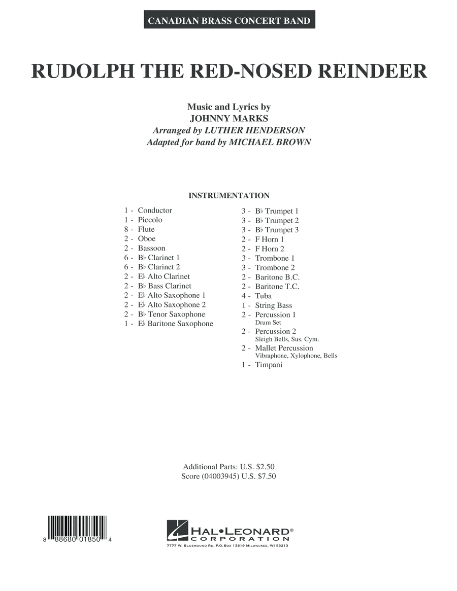 Rudolph the Red-Nosed Reindeer (Canadian Brass) - Conductor Score (Full Score)