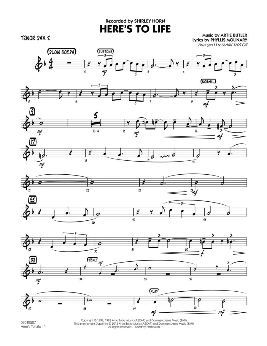 Here's To Life (Key: C minor) - Tenor Sax 2