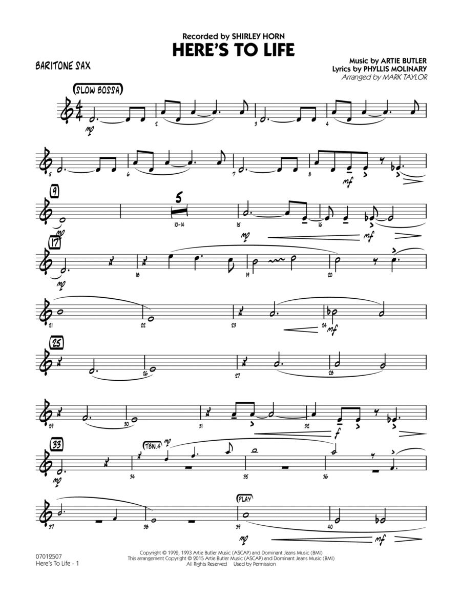 Here's To Life (Key: C minor) - Baritone Sax