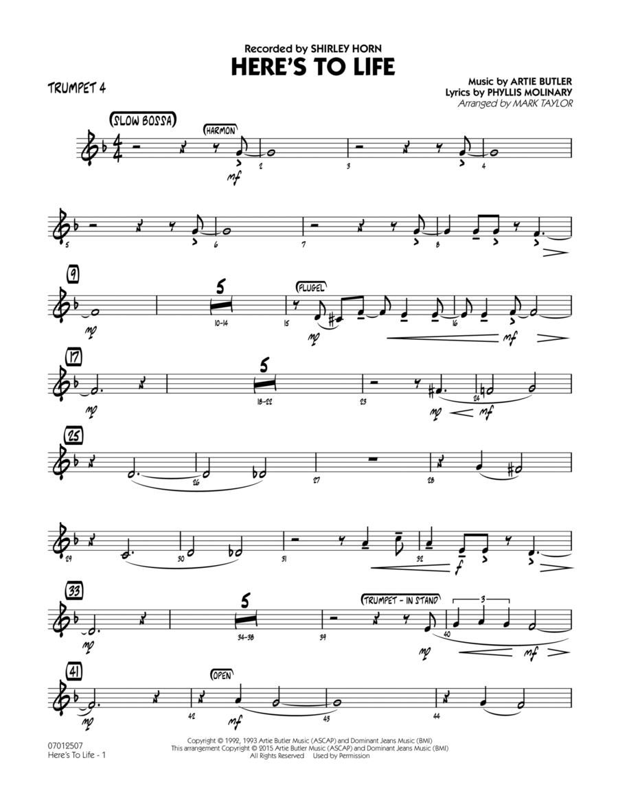 Here's To Life (Key: C minor) - Trumpet 4