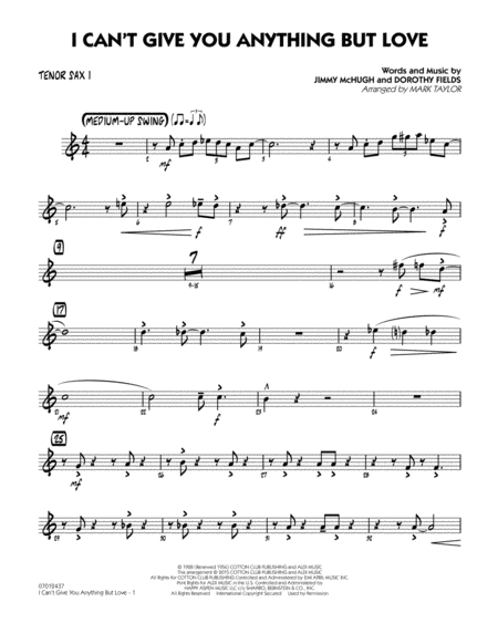 I Can't Give You Anything But Love (Key: B-flat) - Tenor Sax 1