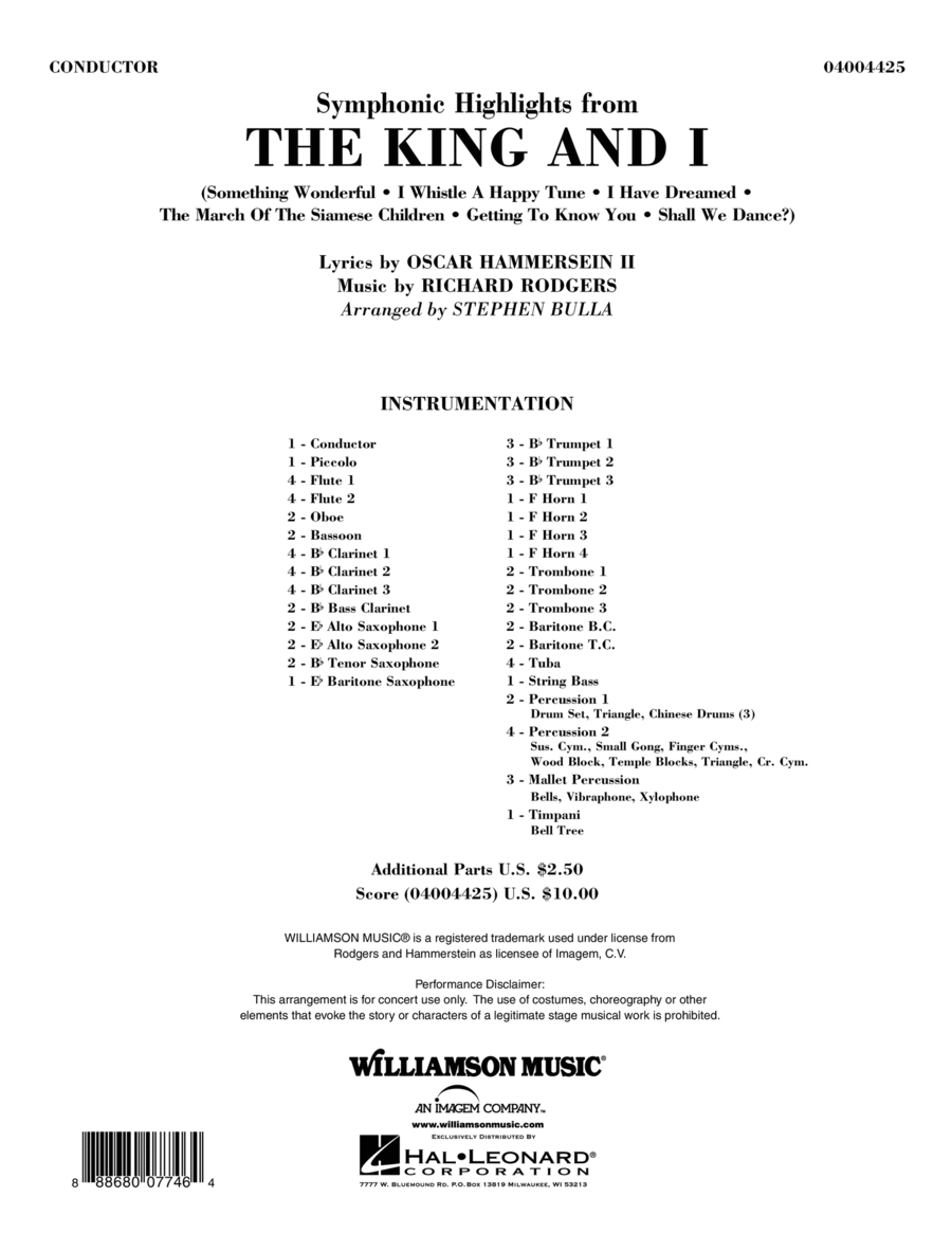 Symphonic Highlights from The King and I - Conductor Score (Full Score)