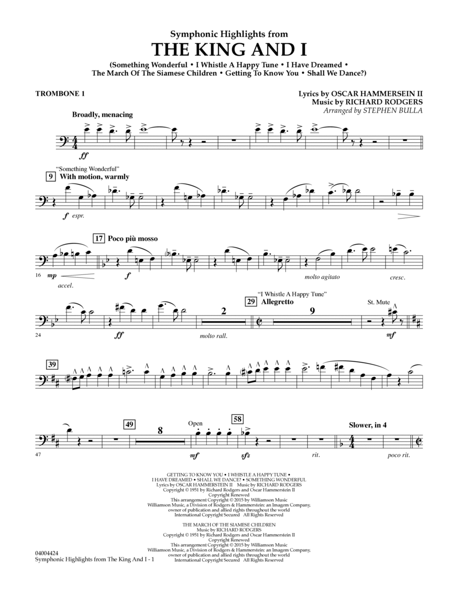 Symphonic Highlights from The King and I - Trombone 1