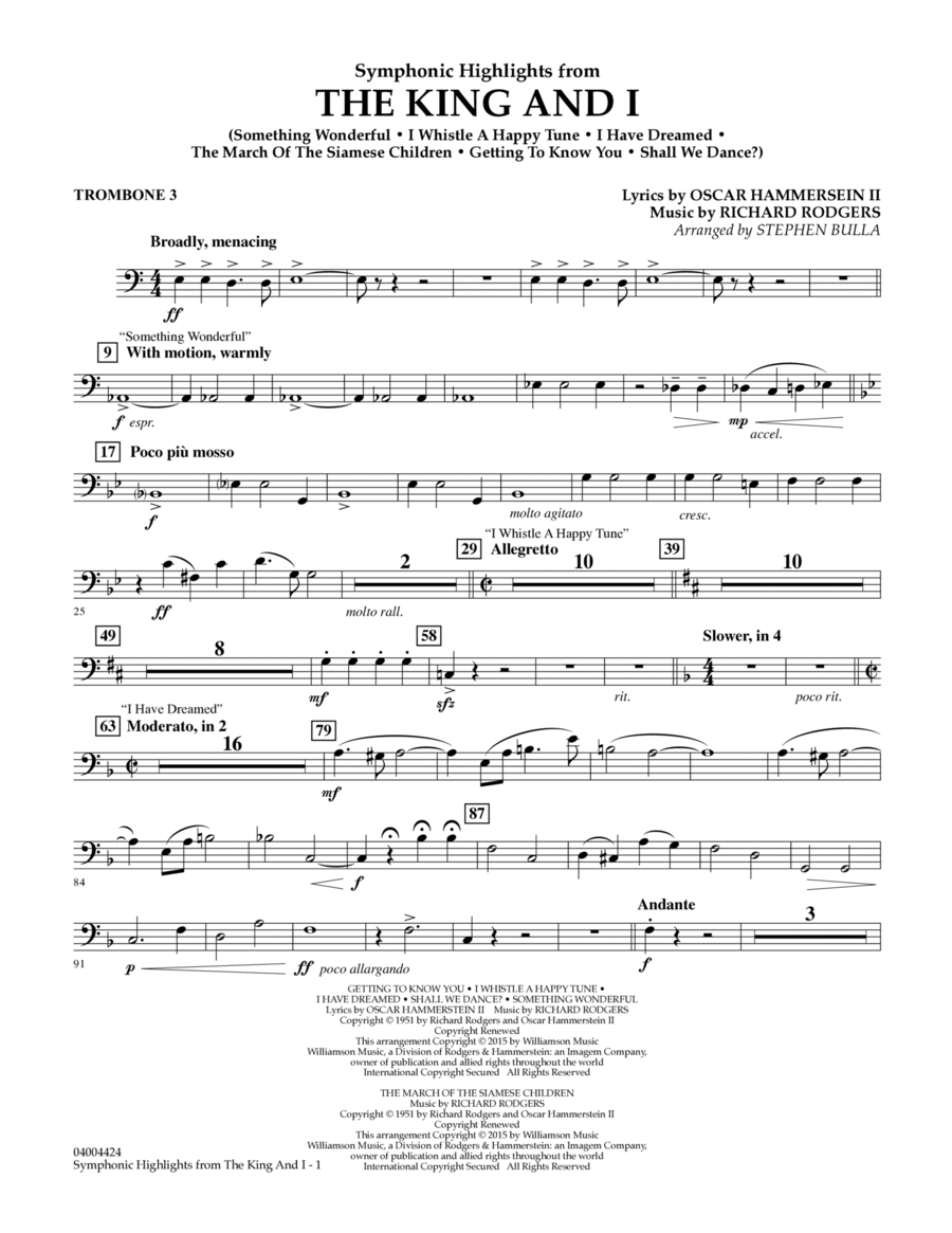Symphonic Highlights from The King and I - Trombone 3