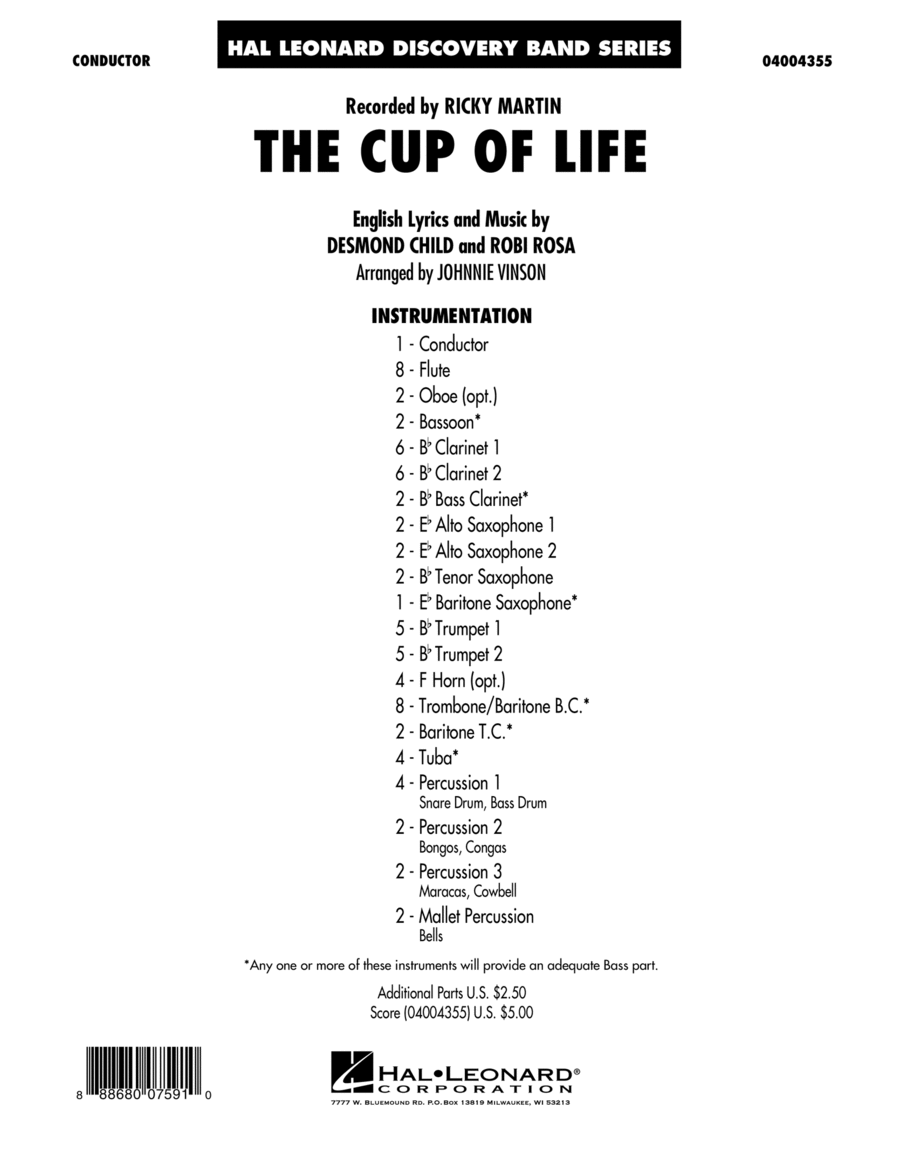 The Cup of Life - Conductor Score (Full Score)