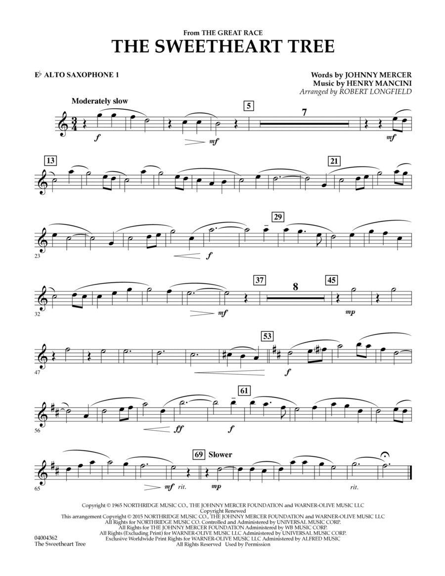 The Sweetheart Tree (from The Great Race) - Eb Alto Saxophone 1
