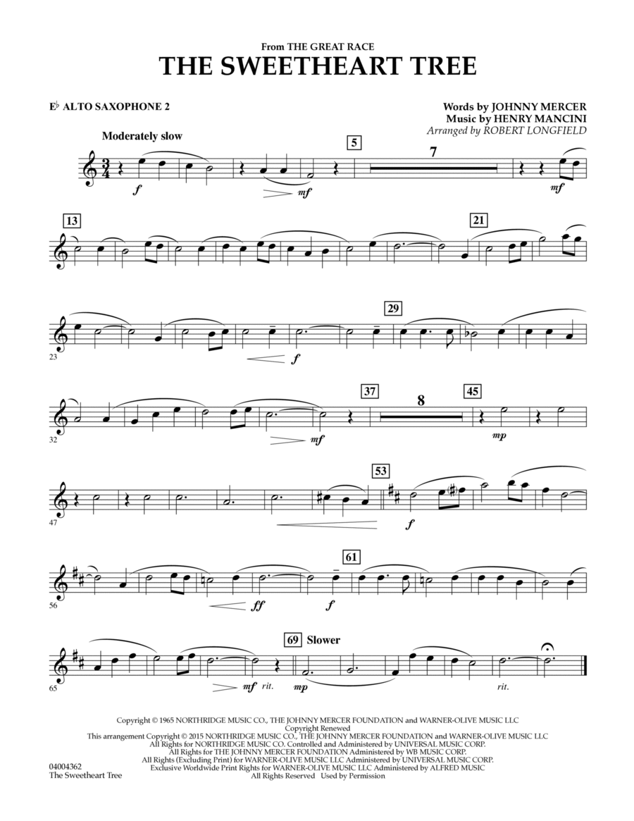 The Sweetheart Tree (from The Great Race) - Eb Alto Saxophone 2