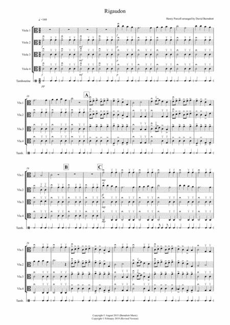 Rigaudon by Purcell for Viola Quartet
