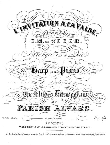 C.M. von Weber: Aufforderung zum Tanze (Invitation à la danse) for harp and piano