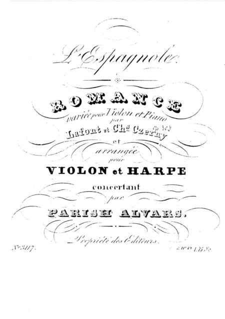 L'espagnole for Violin and Harp (or Piano)