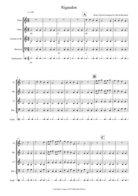 Rigaudon by Purcell for Wind Quartet