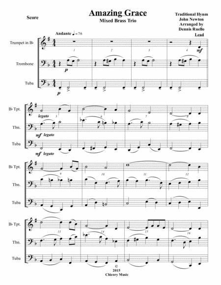 Amazing Grace - Mixed Brass Trio (Trumpet, Trombone, Tuba) - Jazz Funeral Style