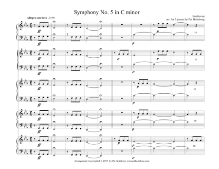 Beethoven - Fifth Symphony - First Movement - arranged for Five Pianos