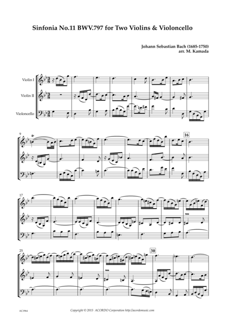 Sinfonia No.11 BWV.797 for Two Violins & Violoncello