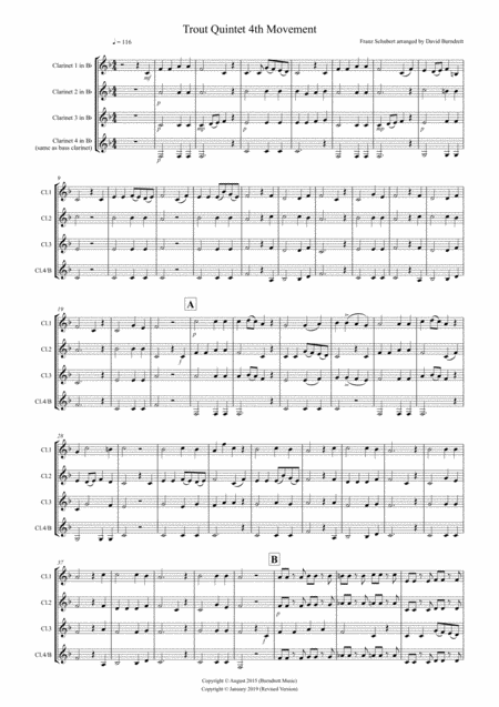The Trout (4th movement) for Clarinet Quartet