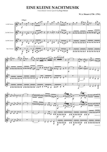 Eine Kleine Nachtmusik for Clarinet Quartet