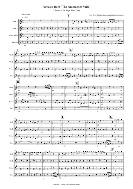 Dance of the Sugar Plum Fairy (fantasia from Nutcracker) for Double Reed Quartet