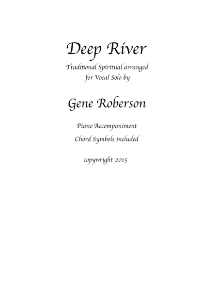 Deep River Arranged for Vocal Solo