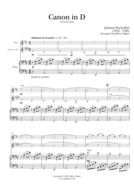 Canon in D (Long Version) for Flute, Clarinet, and Piano