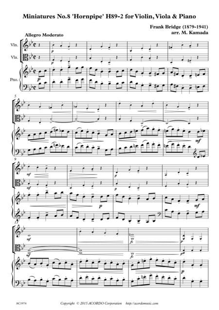 Miniatures No.8, Hornpipe H89-2 for Violin, Viola & Piano