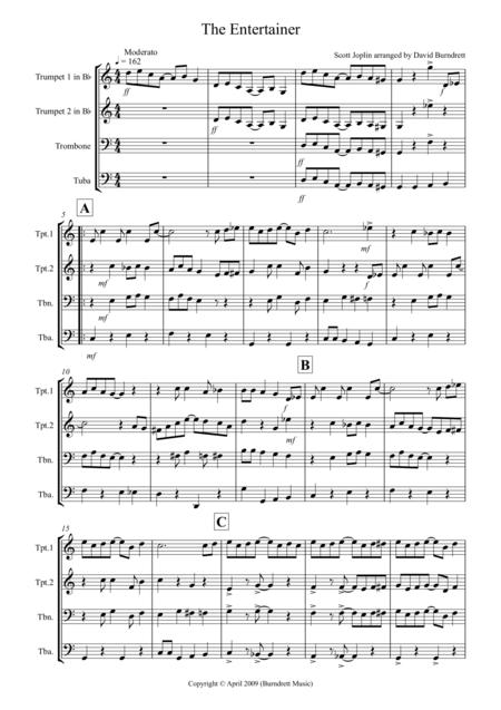The Entertainer for Brass Quartet