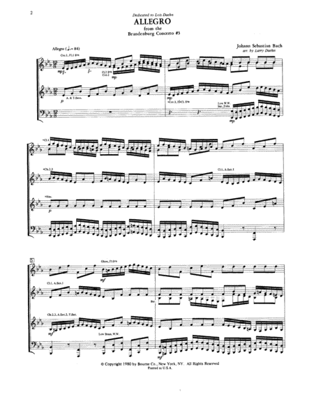 Allegro from Brandenburg Concerto No. 3 - Condensed Score