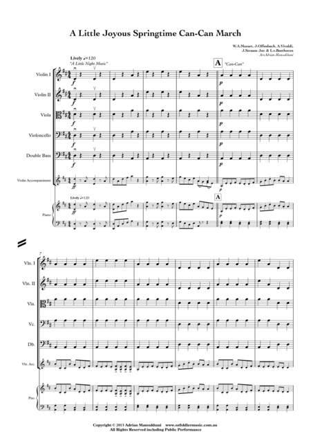 A Little Joyous Springtime Can-Can March, A Medley for Beginner Strings