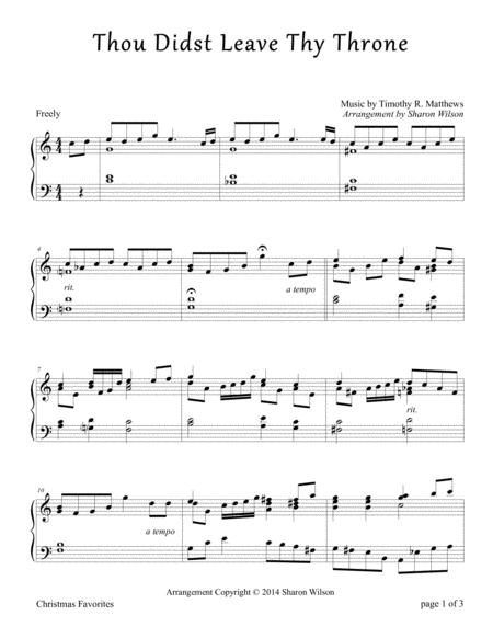 Thou Didst Leave Thy Throne (Piano Solo)