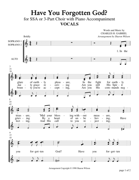 Have You Forgotten God? (for SSA or 3-Part Choir with Piano Accompaniment)