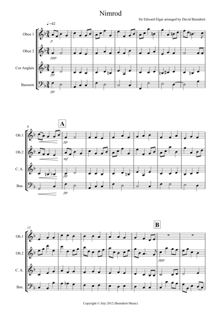Nimrod (from the Enigma Variations) for Double Reed Quartet