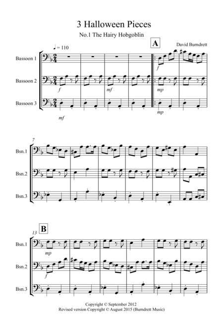 3 Halloween Pieces for Bassoon Trio